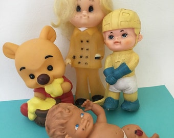 Lot 4 Vintage Rubber Dolls, Squeaker Squeak Toys, Winnie the Pooh Toy, Hockey Player , Kitsch Baby Doll 1960s