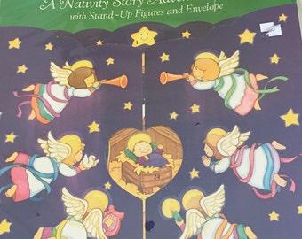 Vintage American Greetings Nativity Story Advent Calendar in Original Packaging, 1980s Cardboard Paper Christmas Advent Calendar