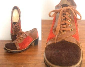 Vintage 70s Suede Lace Up Shoes Patchwork / Colorblock Brown Red Disco Hippie Oxfords / Size 7.5