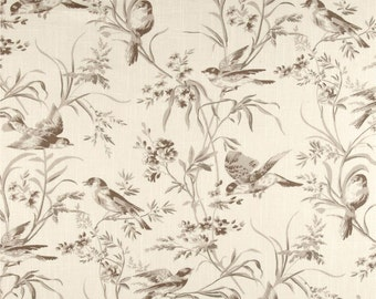 """Two  Custom Kitchen Cafe Curtains   28""""L x 25""""W  - Toile Birds -Taupe/ Cream"""