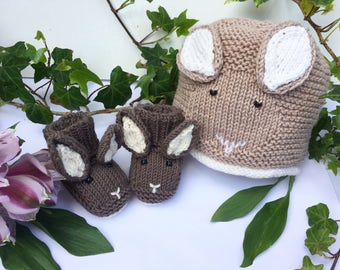 Baby Hat and Booties KNITTING PATTERNS in pdf - Baby Bunny Hat and Bunny Booties - 2 Pattern Deal - Instant Download