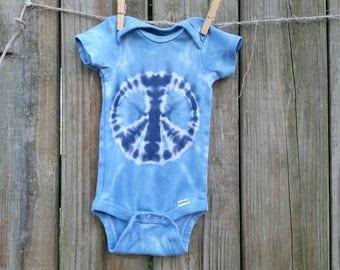 Peace Sign Tie Dye Bodysuit / baby tie dye / peace sign baby / tye dye Peace sign / tye dye baby /