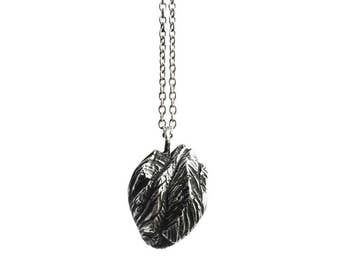 Mountain Heart / Oxidized Silver / Handcarved