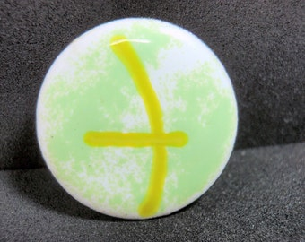 "Enamel Button 7/8"" White Green Yellow Metal Vintage 1970s Asian 22mm"