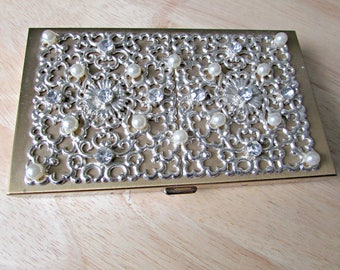 Vintage Antique EVANS Cigarette Case with Pearls and Rhinestones, Make up case, Business card holder, Purse, money, ladies compact