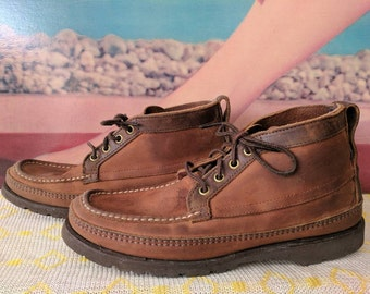 Mens size 7? Ladies Size 8.5/9 Vintage Moccasin Boots by Russell Moccasin Co. Hiking Walking Work Boots