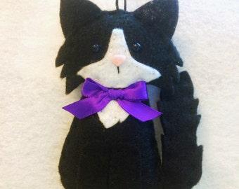Cat Ornament - Personalized Ornament - Cat Gift - Felt Ornament - Black Cat - Kitten Ornament - Crazy Cat Lady - Pet Memorial - Felt Cat