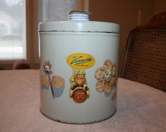 Vintage Blue Magic Krispy Kan Tin Storage Canister Cookie Jar Vernors Soda Pop Decal Sticker