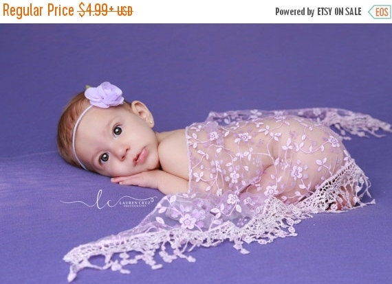 20% OFF SALE Lavender Fringe Swaddle Wrap with a Lavender Rose Headband for newborn photo shoots, baby headband,  lace wrap by Lil Miss Swee