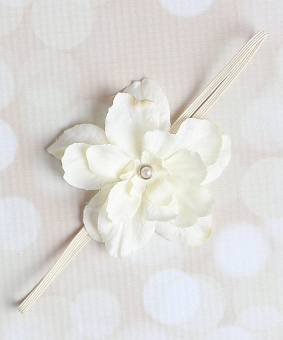Ivory Delphinium Flower headband for newborn photo shoots or everyday wear, perfect for all ages, baby shower gift by Lil Miss Sweet Pea