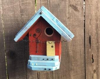 Red Farmhouse Birdhouse Cottage Chic Functional Bird's House For Birds, Custom Nest Box Garden Yard Art Birdhouses Item #488193768
