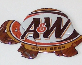Turtle Magnet - A & W Root Beer Soda Can