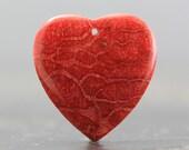 Drilled Red Coral Heart Ocean Specimen Organic Gemstone Cabochon (CA6590)