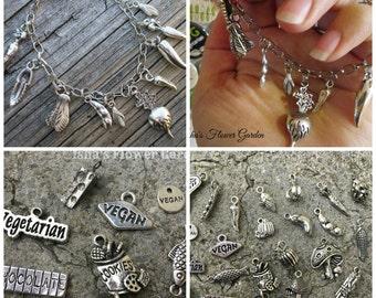 vegetable charm bracelet, vegan jewelry, vegetarian, vegan, pescetarian, herbivore gift, gift for vegan