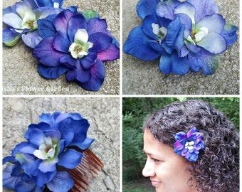 Blue Delphinium hair flower clip, blue hair flower, comb, realistic, single or double bloom, blue hair barrette