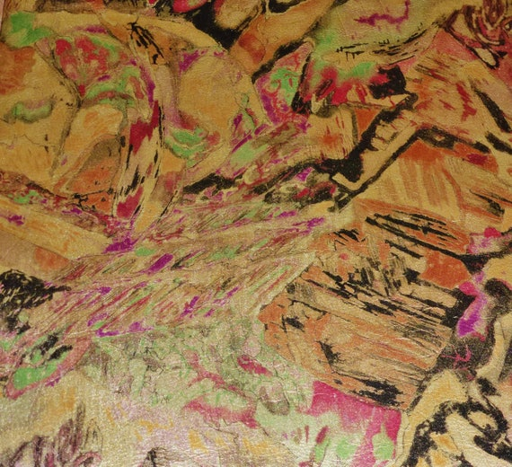 """Metallic Leather CLOSEOUT 8""""x10"""" Abstract Multicolored Print on Gold METALLIC Cowhide #355p 2.25-2.5 oz / 0.9-1 mm PeggySueAlso™"""