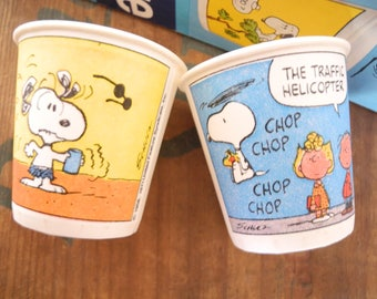 N O S Snoopy's Many Faces Dixie Cups. 200 Snoopy Bathroom Cups. Peanuts Collectible Snoopy and the gang