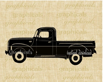Old black truck printable graphic instant digital download for iron on image transfer to fabric burlap tote pillow Decoupage Card No. 2324
