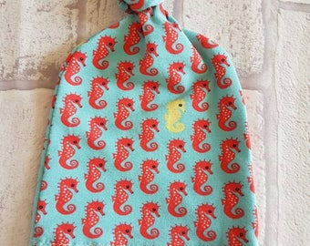 Super sweet knotted aqua green and orange seahorse babies knot knotted cotton jersey stretch lycra hat in size 0-3 months