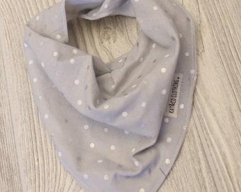Cowl style bandana bib light gray with silver dots