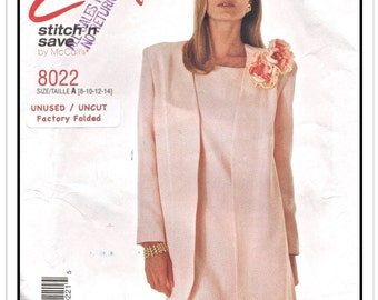 """McCALL'S Pattern 8022 - Misses' """"Stitch 'n Save Easy"""" A-Line Shift Dress and Unlined Jacket - Sz 8-10-12-14 - Uncut/FF - Vintage 1990s"""