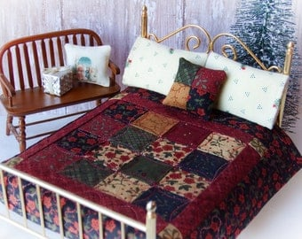 """Dollhouse Miniature Quilt """"Cozy Winter""""  w/ 2 Flannel Bed Pillows & Decorator Pillow - 1:12 Scale"""