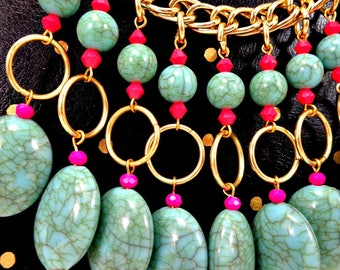 Statement Necklace, Bib Necklace, Gold, Mint, Neon, Festival Necklace, Big Necklace, Chunky Necklace, Crystal Necklace, Boho Necklace