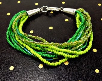 Seed Bead Bracelet, Green, Strand Bracelet, Multistrand Bracelet, Green Bracelet, Glass Bead Bracelet, Beaded Bracelet, Boho, Bohemian