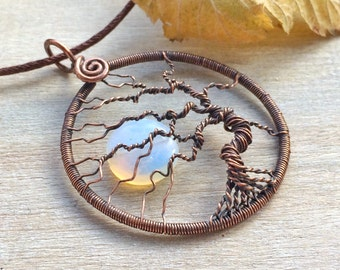 Tree of Life Necklace, Yggdrasil, Copper Jewellery, Anniversary Gift, Tree-of-Life Pendant, 7th Anniversary, Full Moon Necklace, Gift Idea