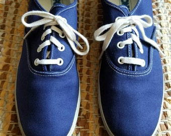 Vintage Pony Canvas Sneakers//Navy Blue//Size 10//VTG