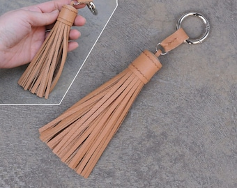 LARGE Type -Beige Unique and Chic Hand Stitched Cowhide Leather TASSEL Key Chain or Bag Charm-(Pls choose Key Ring color)