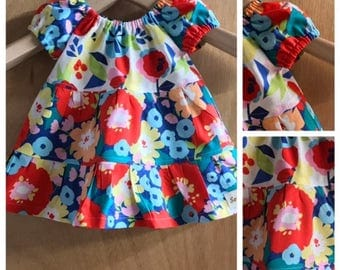 Infant Cotton Spring/Summer Peasant Dress, size 3 months