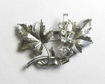 SALE Vintage Sterling Silver Rhinestone Flower Carl Art Signed Leaf Pin