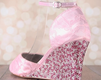 Lace Wedding Shoes, Pink Wedding Shoes, Pink Lace Shoes, Crystal Heel Wedding Shoes, Lace Pink Shoes, Wedges, Wedding Wedges, Pink Wedding