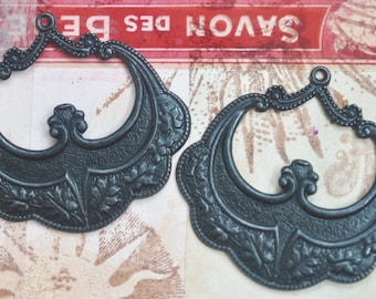 TWO Decorated Brass gypsy hoops, earring pendants, Black Satin Finish