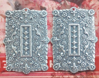 TWO Moroccan Style Brass Rectangular pendants, Boho Earring components,  Sterling Silver Ox