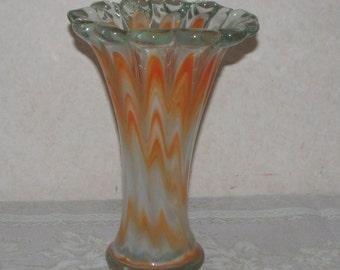 Hecho Mexico Art Glass Hand Blown Orange and White Swirl Vase