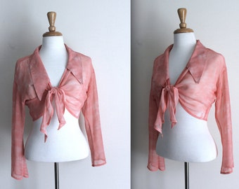 Vintage 90s designer Paolini wrap top - front tie - pink / salmon - size 8 to 12