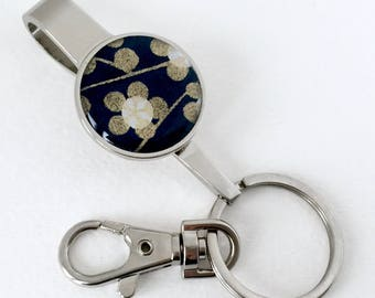 PURSE KEY FINDER Japanese washi handmade paper key chain key hook with lobster clasp (Plum flowers) with gift envelope