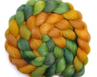 Hand dyed roving - Silk / Polwarth 40/60% wool roving - 4.1 ounces - Daffodils 1