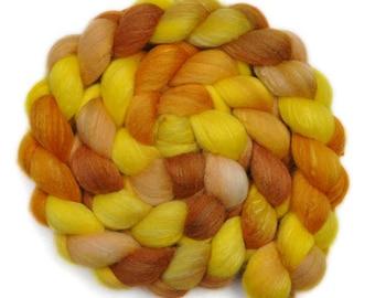 Hand dyed roving - Silk / Polwarth 40/60% wool roving - 4.0 ounces - Desert Dry