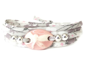 Dragonfly bracelet in pale grey & pink, nature themed clay charm wrap with Liberty ribbon, 21st birthday gift for young women