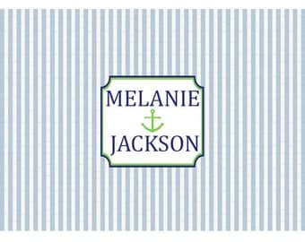 Personalized Disposable Blue Seersucker Paper Placemats - set of 12