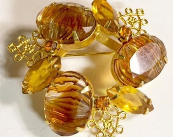 Vintage Citrine Brown Rhinestone Brooch