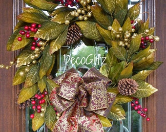 Green and Gold MAGNOLIA CHRISTMAS Wreath with ELEGANT Bow and Gold and Red Berries