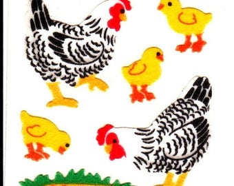 SALE Vintage Sandylion Fuzzy Chickens and Baby Chicks Stickers 80's