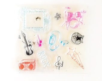 Rock band clear stamp
