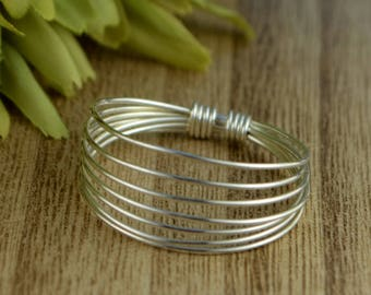 Multi-band Sterling Silver, Yellow or Rose Gold Filled Wire Wrapped Ring- Any Size 4 5 6 7 8 9 10 11 12 13 14 1/4 1/2 3/4