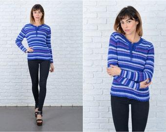 Vintage 80s Blue + Purple Sweater Retro Bold Striped Medium M 8940