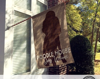 Dog Flag | Poodle House Dogs Welcome | Custom Breed Available | Garden or Large House Flag | Size via Dropdown | Convo for Custom